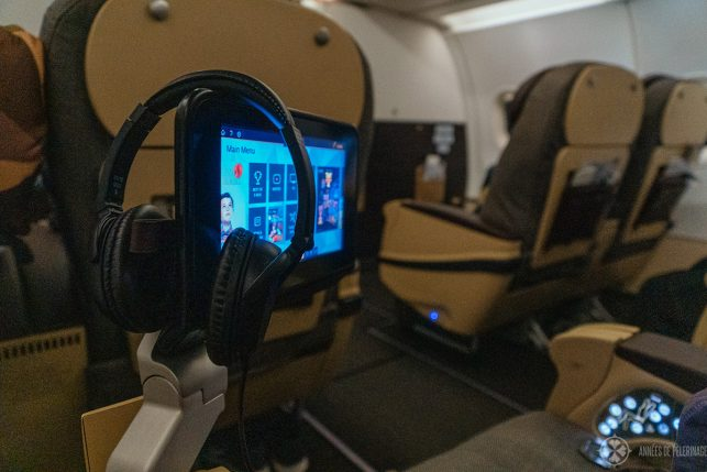 The small entertainment system on the short-distance business class of Etihad airways