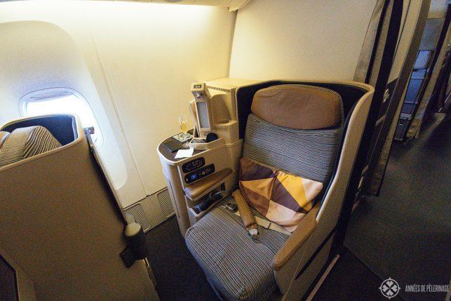 A regular Etihad business class seat