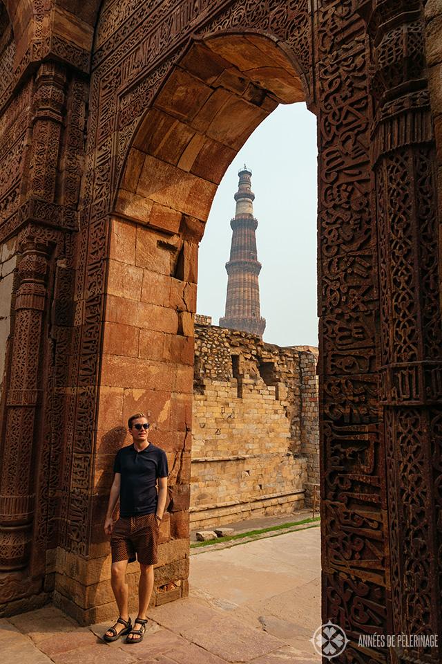 Me, exploring the Qutb Minar complex in New Delhi