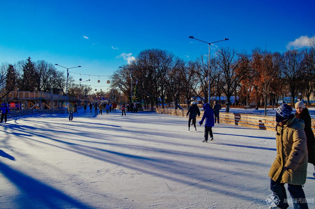 The ice rink in Gorky Park. One of the top things to do in Moscow in winter. That thing is soooo huge!