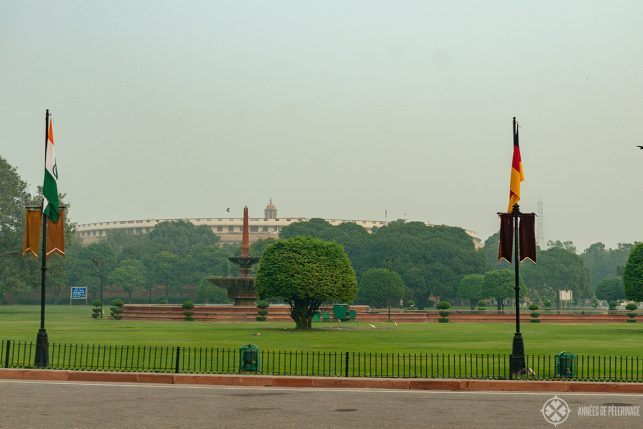 The Indian Parliament with a big park in front of it