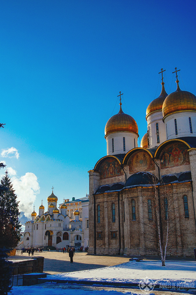 The churches on the central square inside of the Kremlin