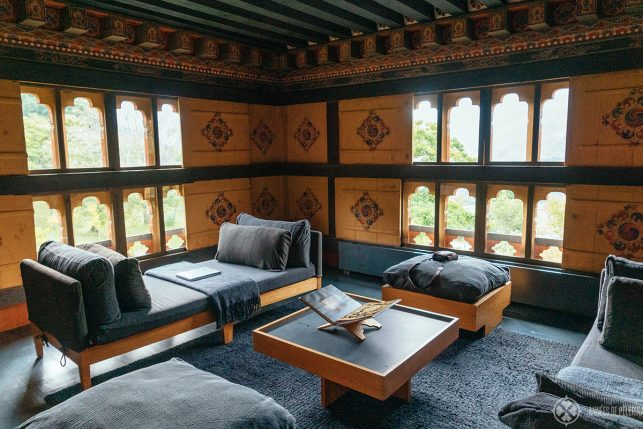 A beautiful sitting area in the Bumthang lodge in Bhutan