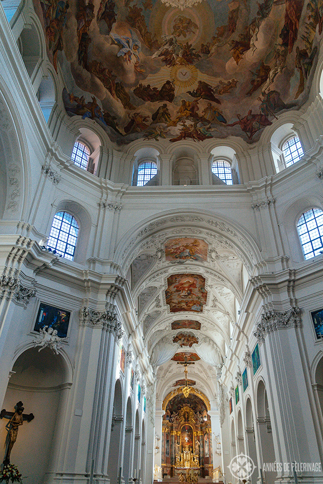 Inside the Neumünster church in Würzburg. Note the gigantic fresco under the cupola