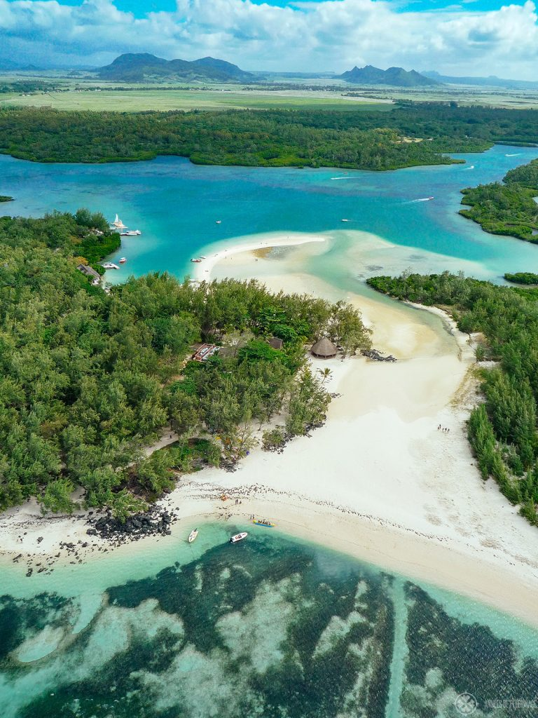 The white beach of the iles aux cerfs in Mauritius. This picture was taken from a Helicopter
