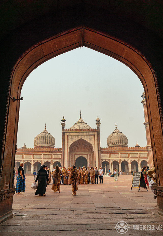 View through the main gate of the Jama Masjid Mosque - one of the b est places to visit in Delhi