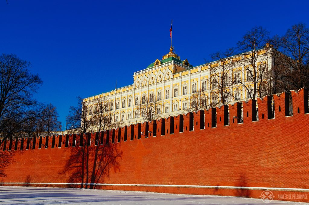 The grand kremlin palace and the famous red wall around moscows ancient citadel