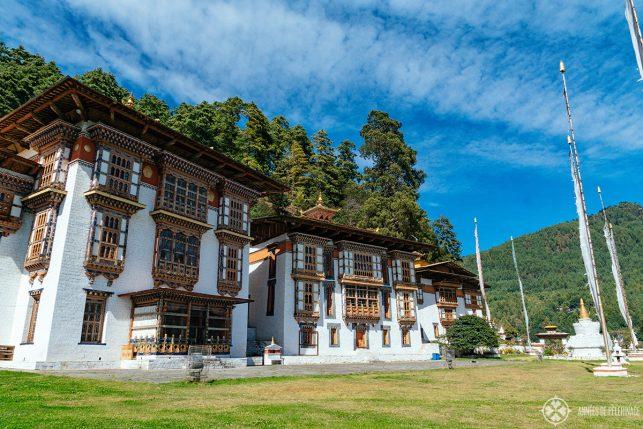 The three temples at Kurje Lhakhang in Bumthang