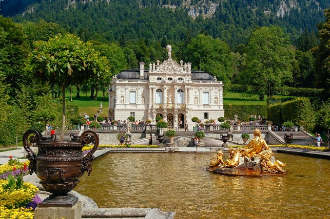 The fantastic Linderhof Palace in Ettal with a wonderful park surrounding it