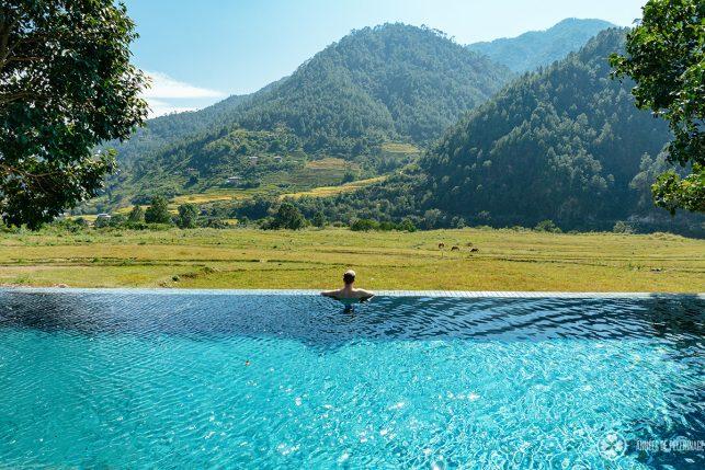 Me, enjoying that lovely infinity pool at Amankora Punakha