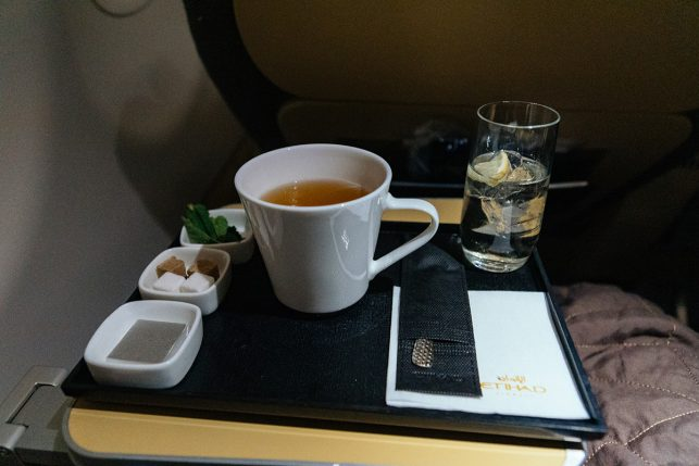 Some Moroccan Mint tea and a Martini Bianco - what I drank after take-off from Dehli airport