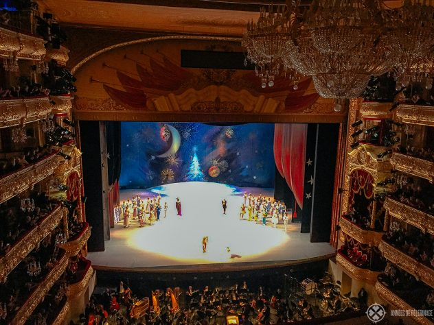 A production of the Nutcrackerinside the Bolshoi theater in Moscow