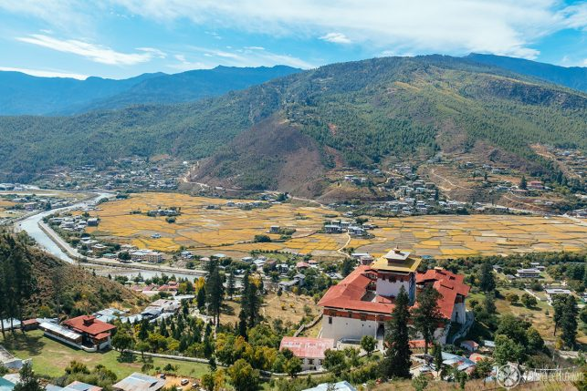 View of Paro valley from above Rinpung Dzong