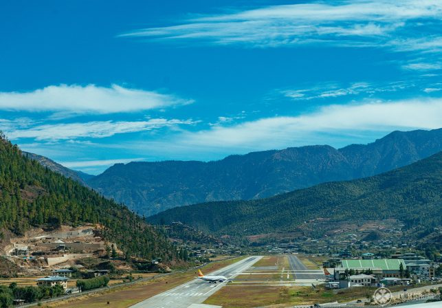 The landing strip of Paro Airport. If you are wondering how to get to Bhutan, then this is the place you need to land -  despite of the high mountains