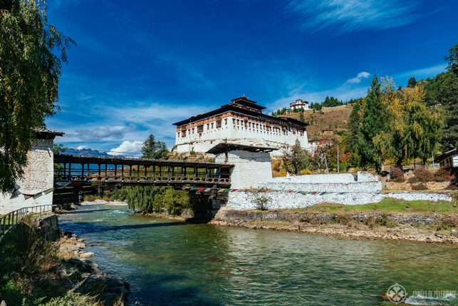 View of Rinpung Dzong from the other side of the river in Paro, Bhutan