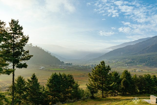 View of Phobjkha Valley in the early morning - this is where you can see the black-necked cranes