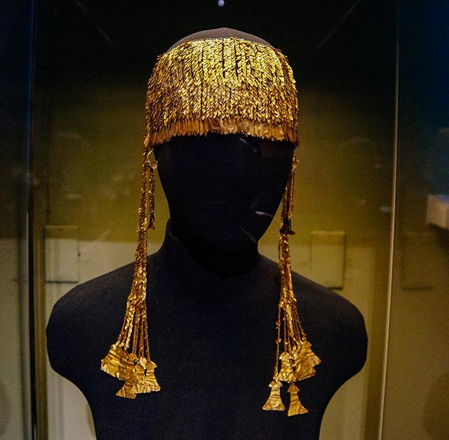 The famous golden headpiece of the Priam treasure inside the museum