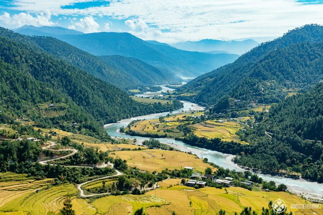 A scenic road through Punakha Valley, Bhutan