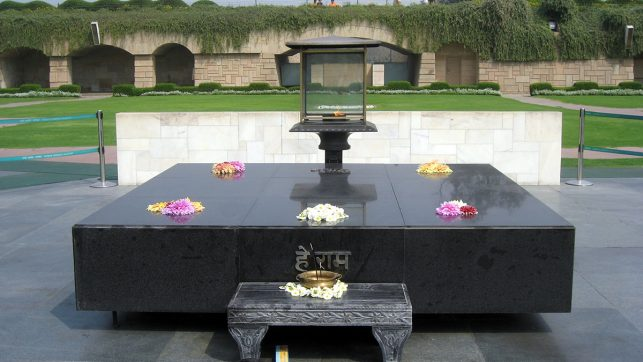 The Mahatma Gandhi memorial at Raj Ghat in Delhi, India