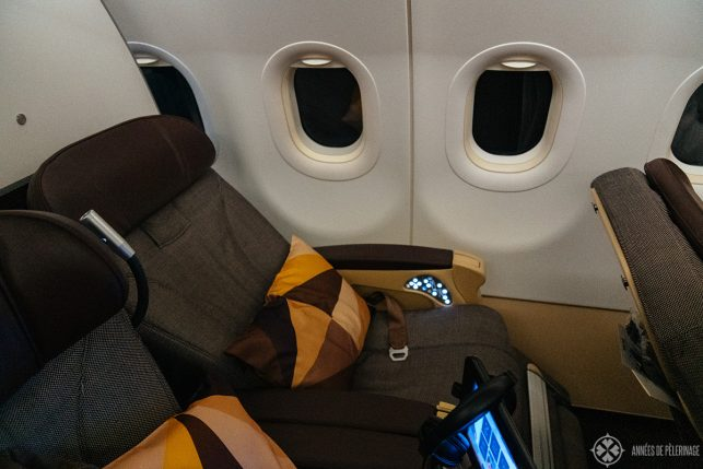 The seat in the reclined position on the short distance business class of Etihad airways
