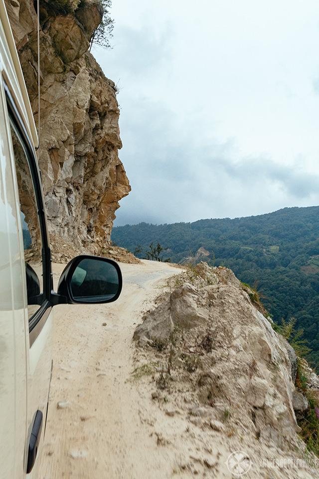 One of many dangerous mountain roads in Bhutan