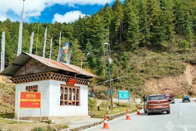 A police stop along the road in Bhutan where travelers need to show their visa