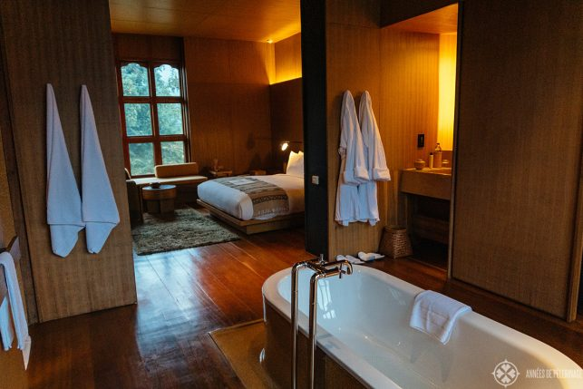 View of the rooms from the bathroom section at Aman Bhutan