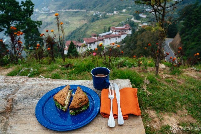 A simple snack with a stunning view in Bhutan of Trongsa Dzong
