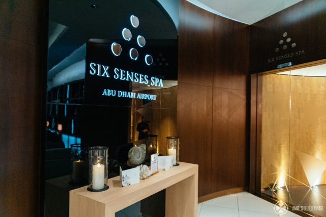 The entrance of the Six Senses Spa inside the Business class lounge at Etihad Airport