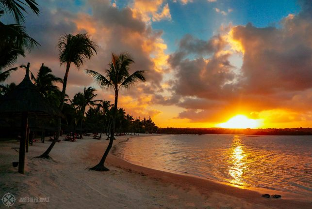 A typical golden sunset in Mauritius