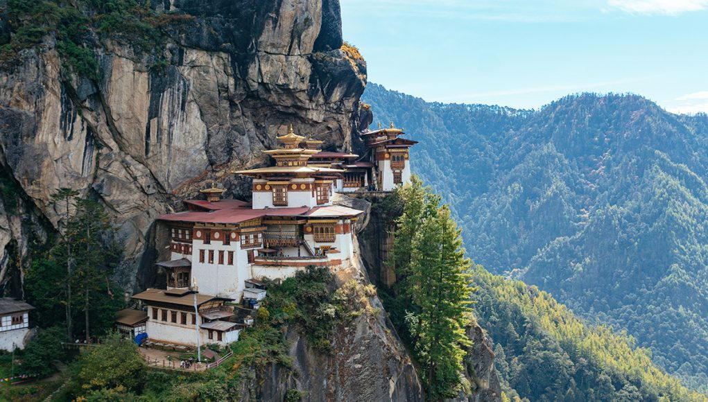 Hike to the Tiger's Nest Monastery in Bhutan. The Paro Taktsang temple is the top tourist attraction in the country