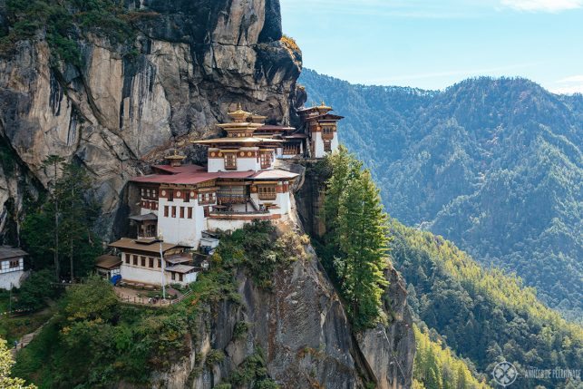The famous Tiger's Nest or Taktsang Monastery near Paro - one of the best places to visit in Bhutan