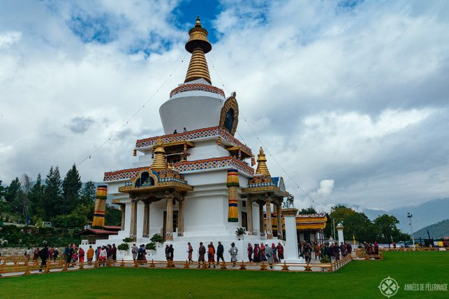 The Thimphu Memorial Chorten on a cloudy day in Bhutan