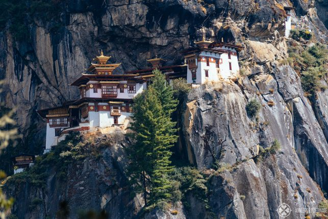 A close-up of the Taktsang monastery in Paro, Bhutan