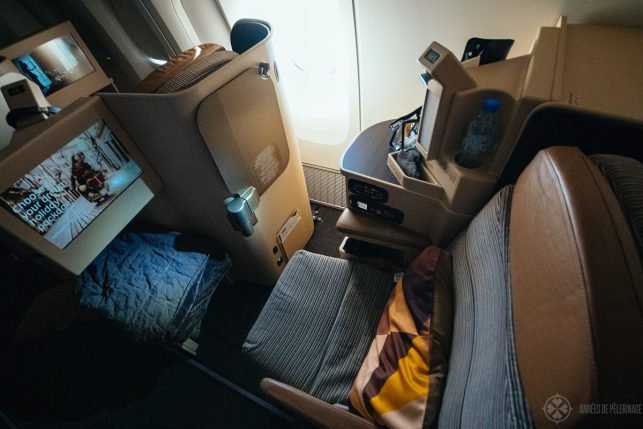 Top view of the Etihad business class seat
