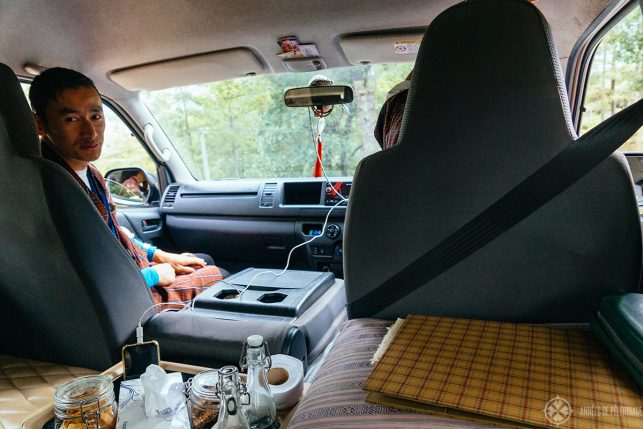 View of the insides of our van in Bhutan