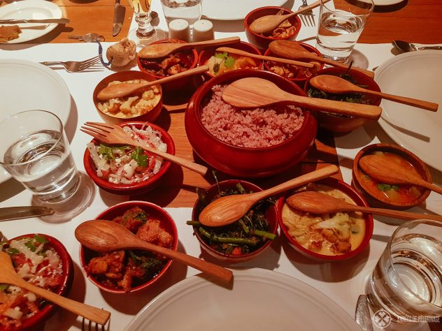 A traditional Bhutanese dinner at the Thimphu lodge