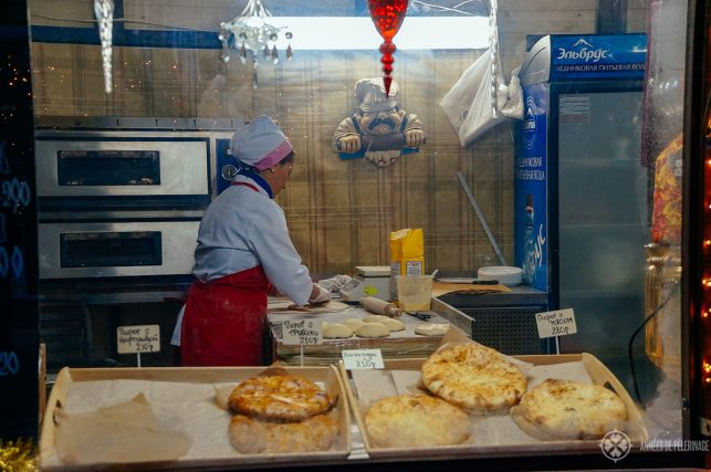 A street food stall selling fresh Tschebureki in Moscow, Russia