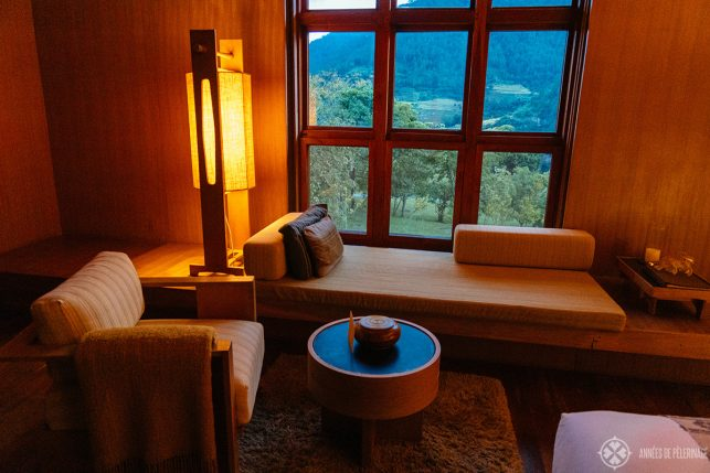 The sitting area in my room in Aman Punakha