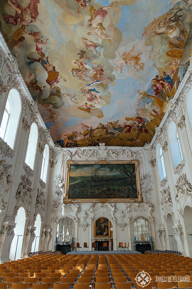 The White hall in Schleissheim Palace Munich with huge ceiling frescos