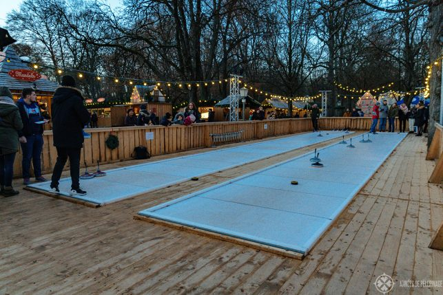 Traditional bavarian curling at the chinese tower christmas market in Munich