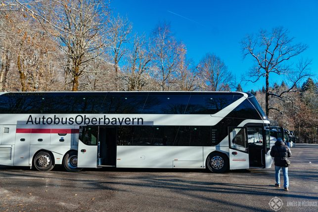 A typical tour bus to Neuschwanstein Castle from MUnich