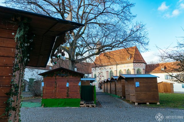 The christmas market inside Blutenburg castle in Munich