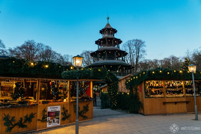 The beautiful christmas market at the Chinese tower in the Englisch Garden in Munich