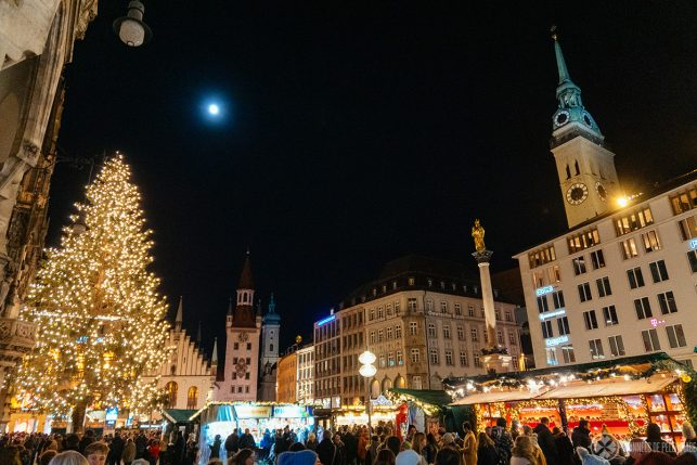 The marienplatz Christkindl market in Munich, Germany