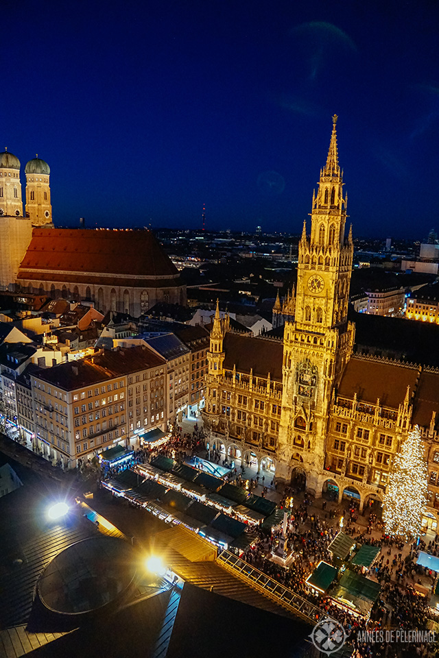 The christmas market in Munich from above