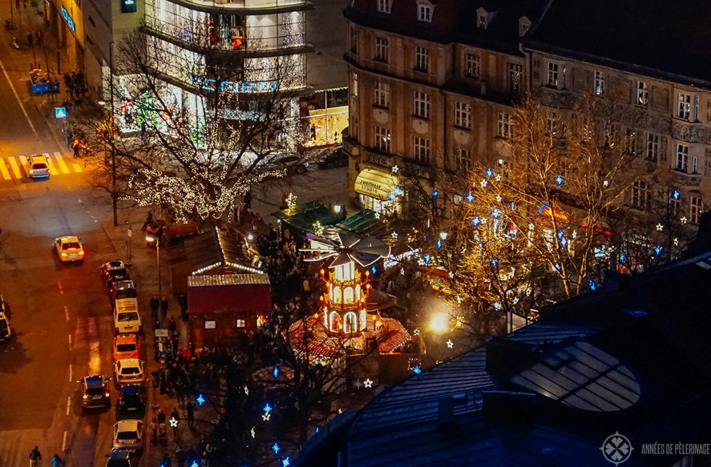 bird's eye view of the christmas market on Rintermarket square in Munich