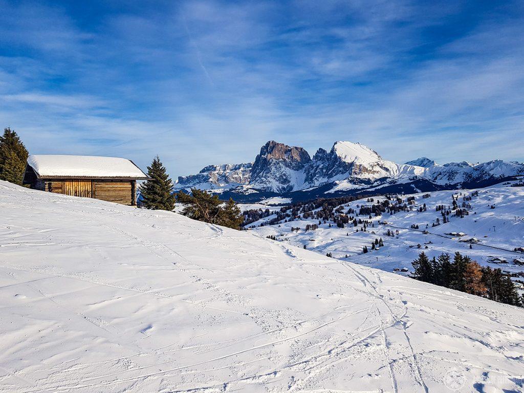 Pristine powder snow at the Alpe di Siusi in the Italian Dolomites