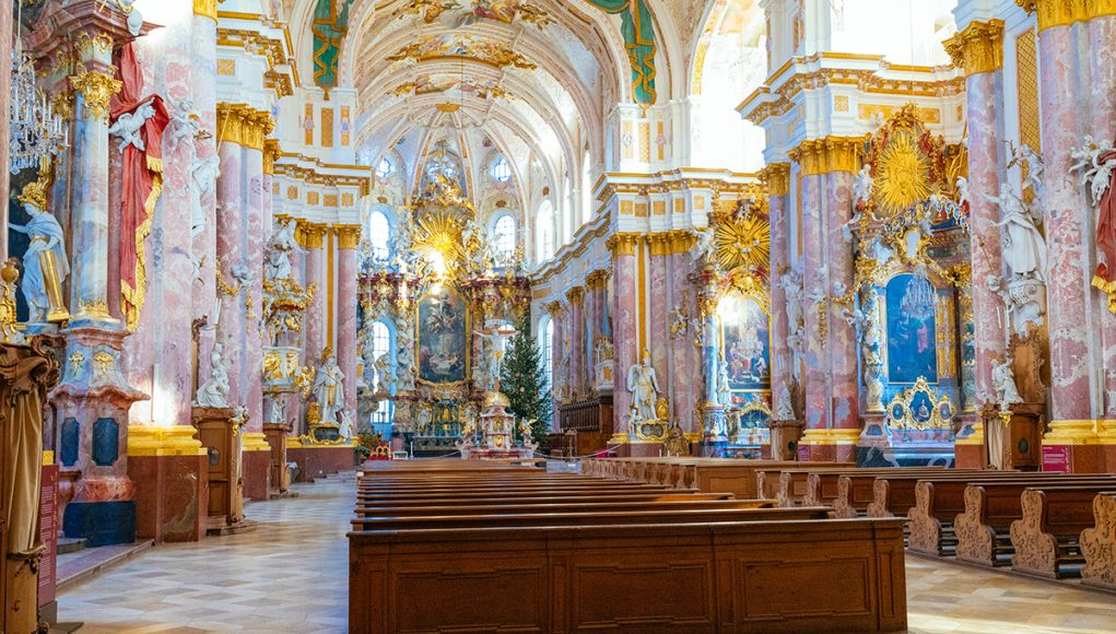 Baroque splendor inside the Fürstenfeld Abbey near Munich, Germany