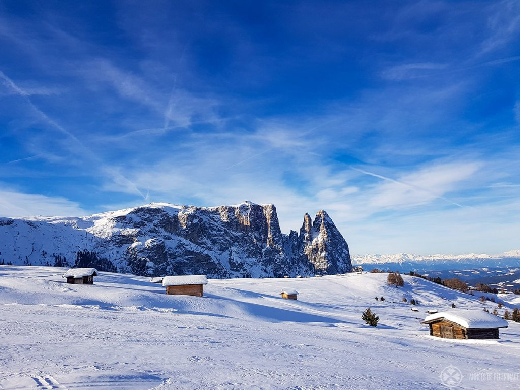 A typical panorama on the plateau of the Alpe di Siusi in winter